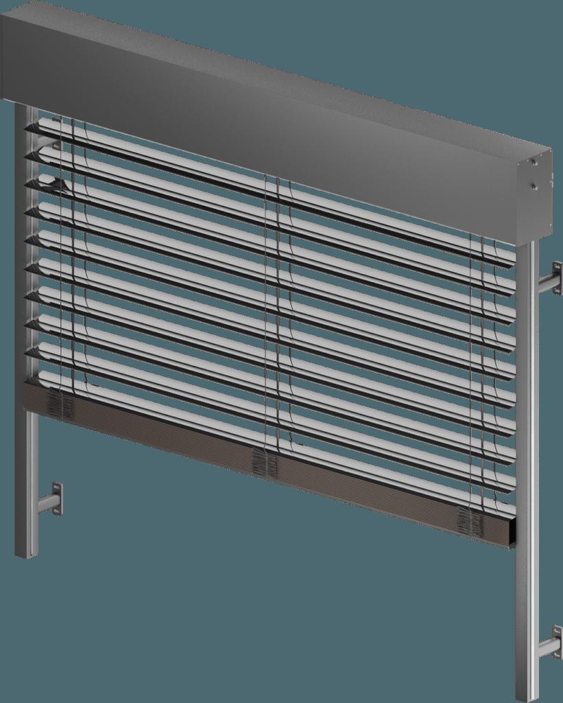 Żaluzje fasadowe z aluminiową blachą osłonową